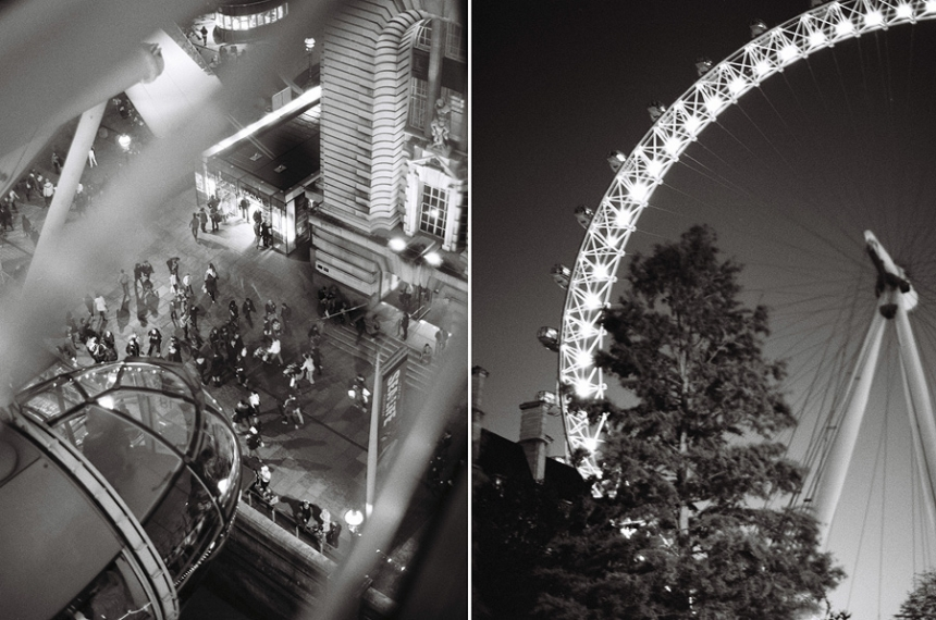 London eye on film night black white